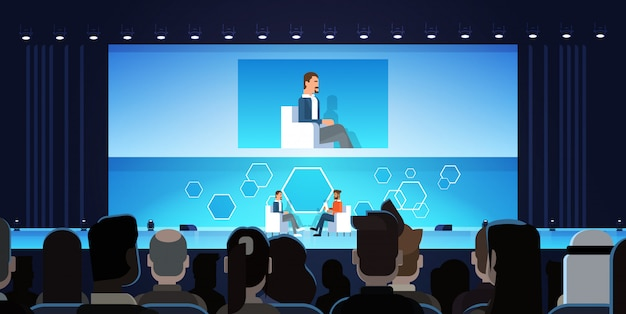 Business man on public interview conference meeting in front of big audience Premium Vector
