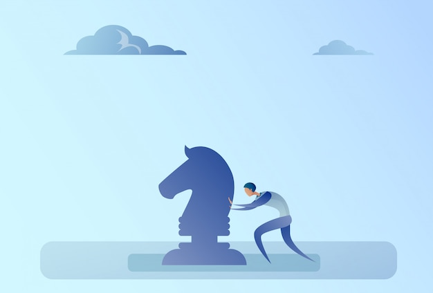 Business man pushing chess figure brainstorming strategy planning process concept Premium Vector