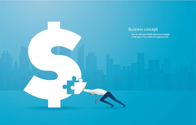 Business man putting the puzzle dollar icon together Premium Vector
