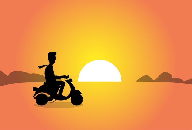 Business man ride electrical scooter sunset background Premium Vector