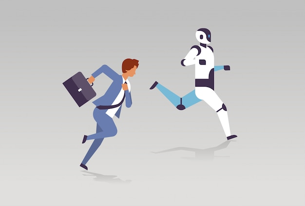 Business man and robot running artificial intelligence technology competition Premium Vector