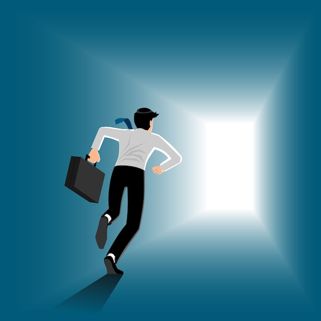 Business man running with briefcase on the way to the exit Premium Vector