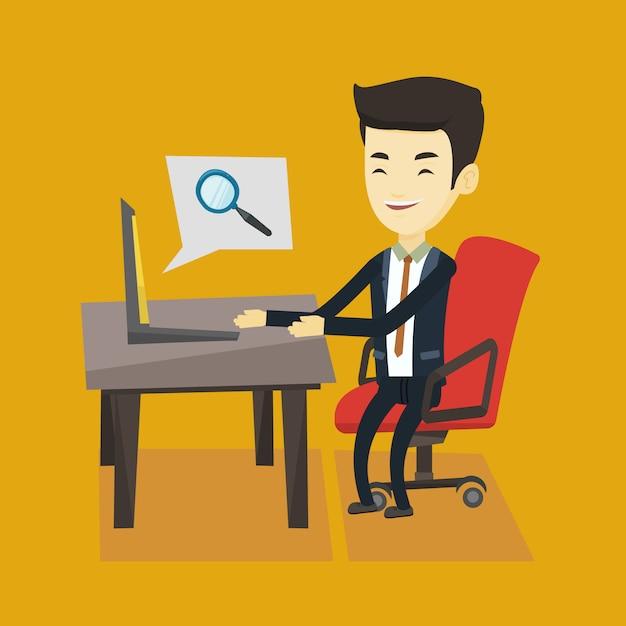 Деловой человек, поиск информации в интернете. Premium векторы