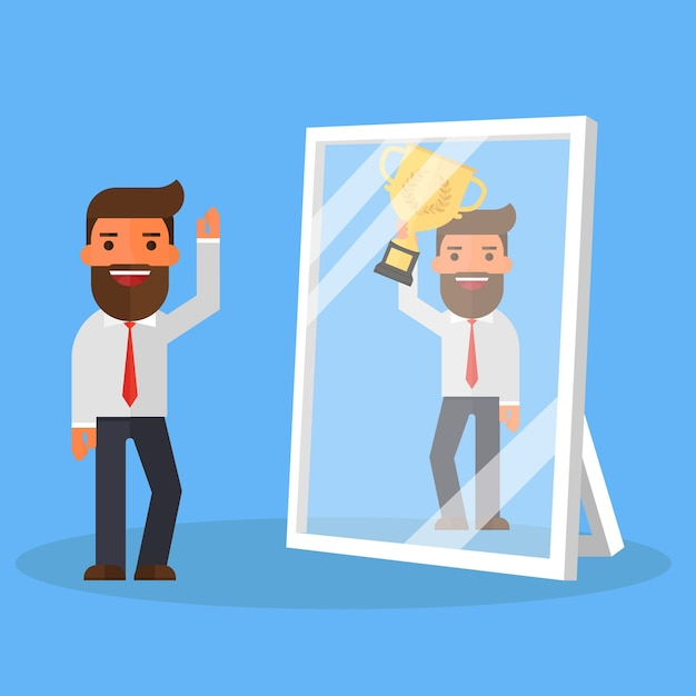 Business man see himself being successful in a mirror Premium Vector