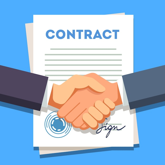 Business man shaking hands over a signed contract Free Vector