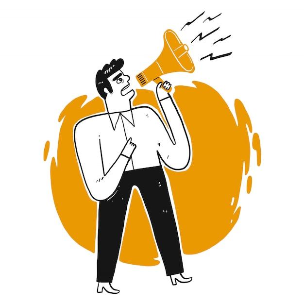 Business man shouting through loud speaker. Premium Vector