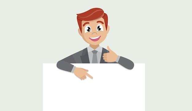 空白のポスター、人差し指、ジェスチャーの親指を示すビジネスマン。 Premiumベクター