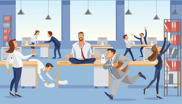 Business man sitting on table and ceep calp in meditation relax. Premium Vector