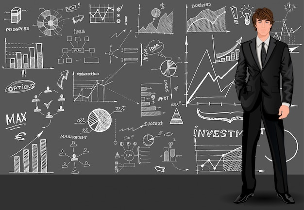 Business man sketch background Free Vector
