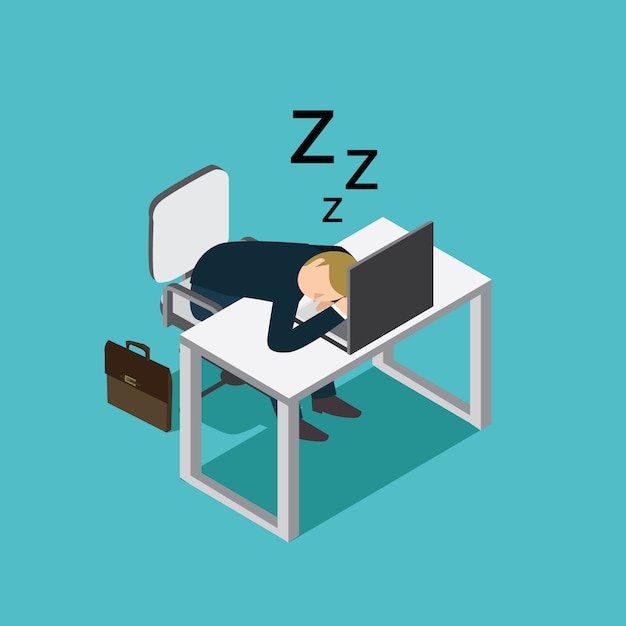 Business man sleeping Premium Vector