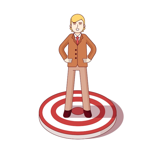 Business man standing on the center of aim target Free Vector