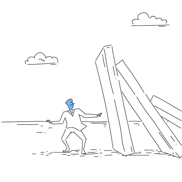 Business man standing at chart bar falling economic fail crisis concept Premium Vector