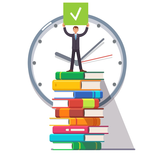 Business man standing on a stack of books Free Vector