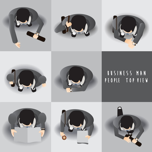 Business man standing top view set ,vector illustration Premium Vector