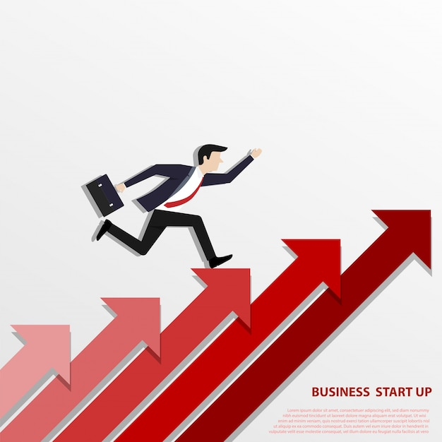 A business man steps up stairs to successful Premium Vector