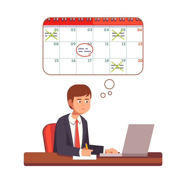 Business man thinking and planning process Free Vector