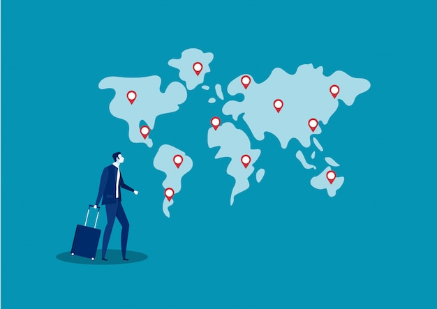 Business man travel and search location for invest business abroad illustration Premium Vector