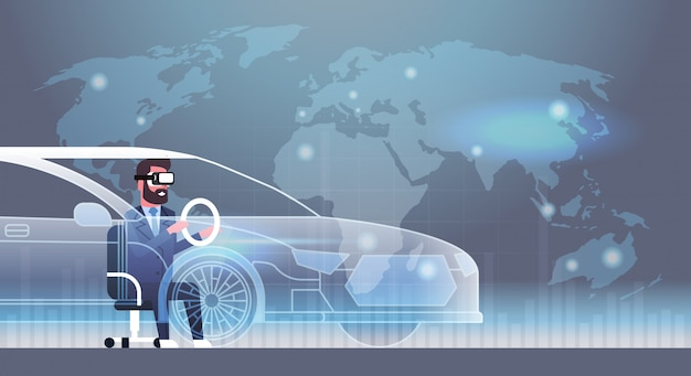 Business man wearing modern 3d glasses driving virtual car innovation vr headset technology concept Premium Vector