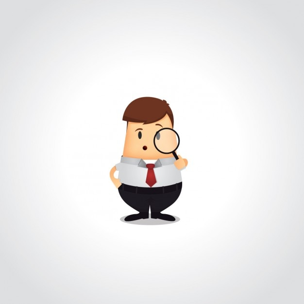 Business man with a magnifying glass Free Vector