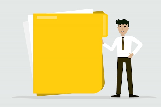 Business man with big folder Premium Vector