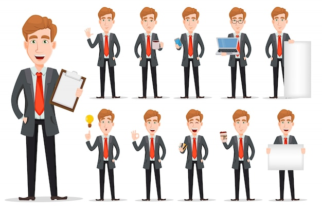 Business man with blond hair Premium Vector