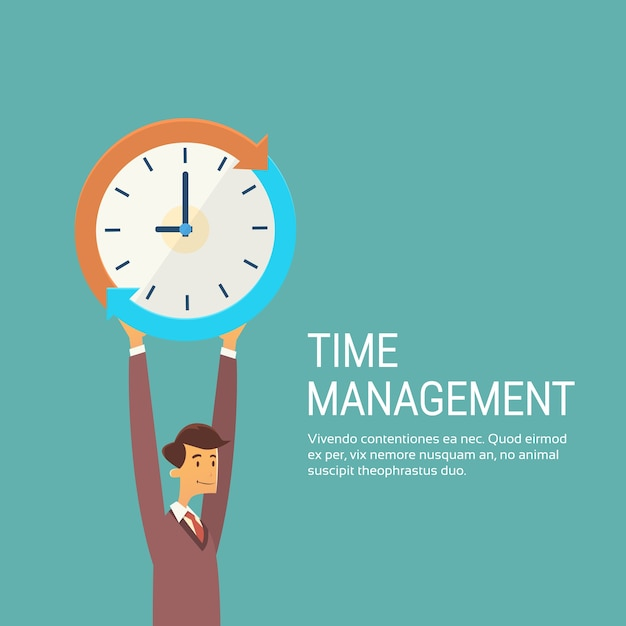 Business man with clock time management concept Premium Vector