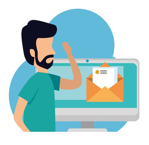 Business man with computer and email Free Vector