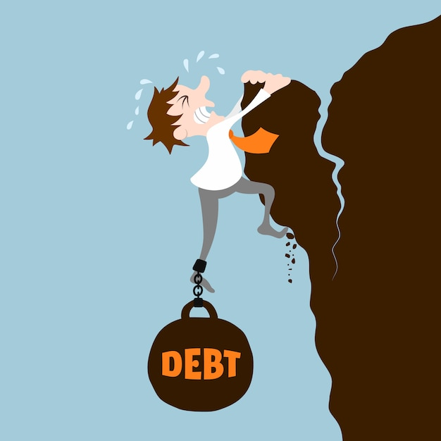 Business man with debt falling from cliff concept Free Vector