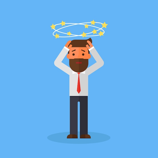 Business man with flying stars around his head Premium Vector