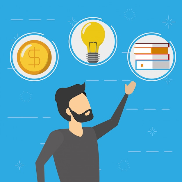 Business man with money, lightbulb and books icons, flat style Free Vector