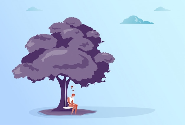 Business man with question mark sit pondering under tree problem concept Premium Vector
