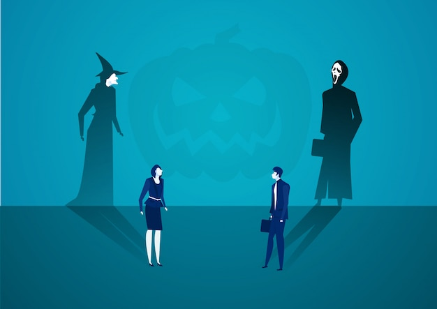 Business man and woman casting shadow become witch with ghost concept. Premium Vector