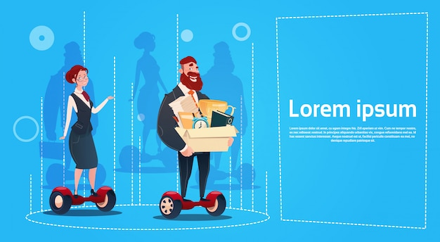 Business man and woman ride electric scooter carry box candidates employees human resources Premium Vector
