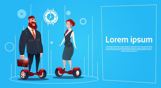 Business man and woman ride electric scooter transport Premium Vector