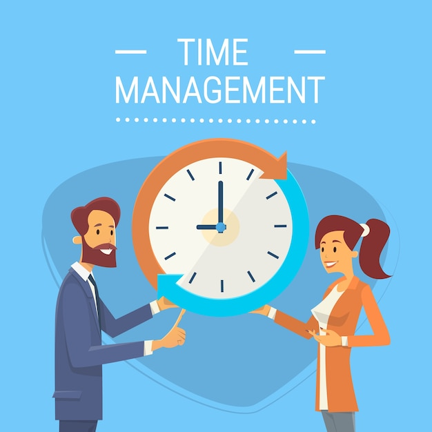 Business man and woman with clock time management concept Premium Vector