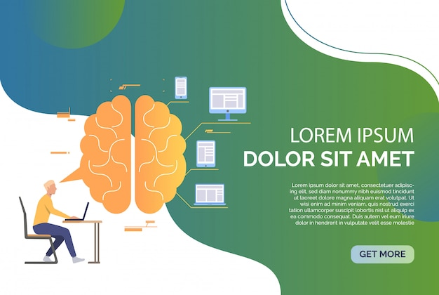 Business man working on laptop, brain, devices and sample text Free Vector