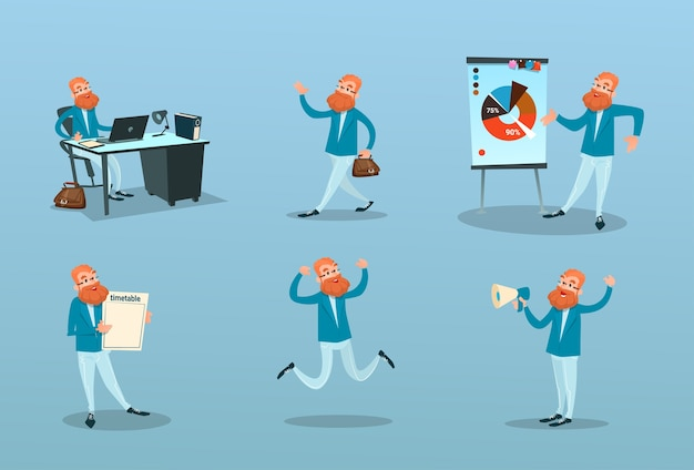 Business man working time management Premium Vector