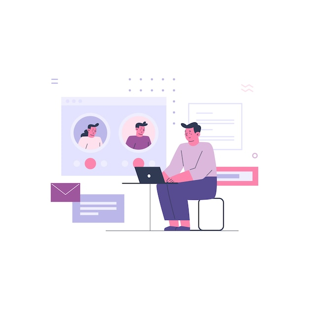 Business man working with online colleagues Premium Vector
