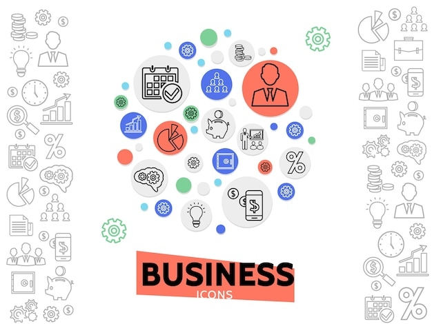 Business and management concept with line icons in colorful circles and finance monochrome elements Free Vector