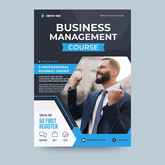 Business management course business flyer template Free Vector