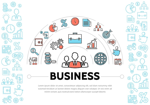 Business management and finance elements Free Vector