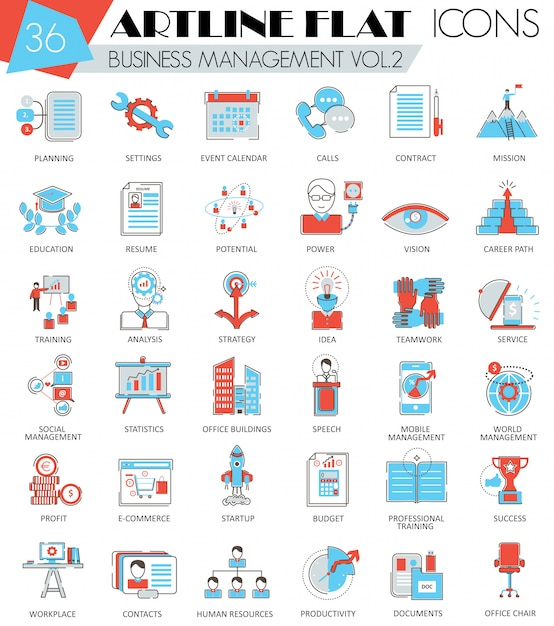 Business management flat line icons Premium Vector