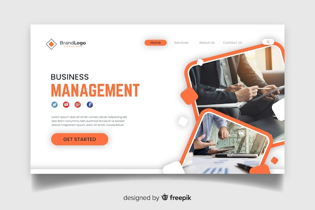 Business management landing page Free Vector