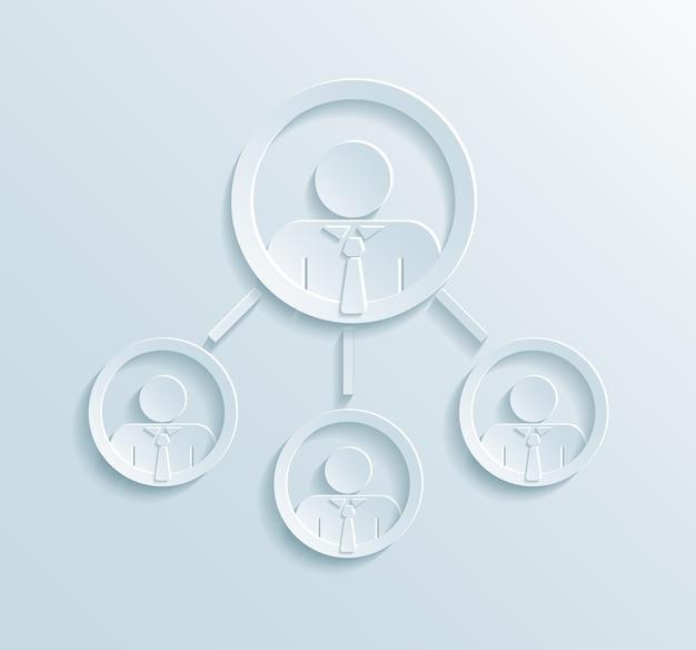 Инфографика структуры управления бизнесом с менеджером или руководителем группы в верхнем кругу, связанная с тремя сотрудниками или офисными работниками в стиле плоской бумаги Бесплатные векторы