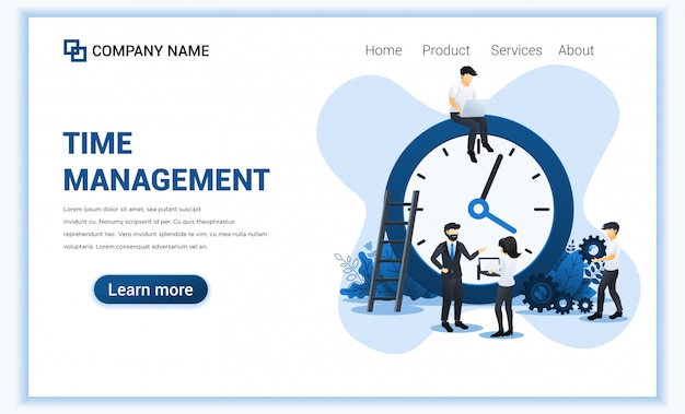 Business management  with people planning a schedule. time management, save time. Premium Vector
