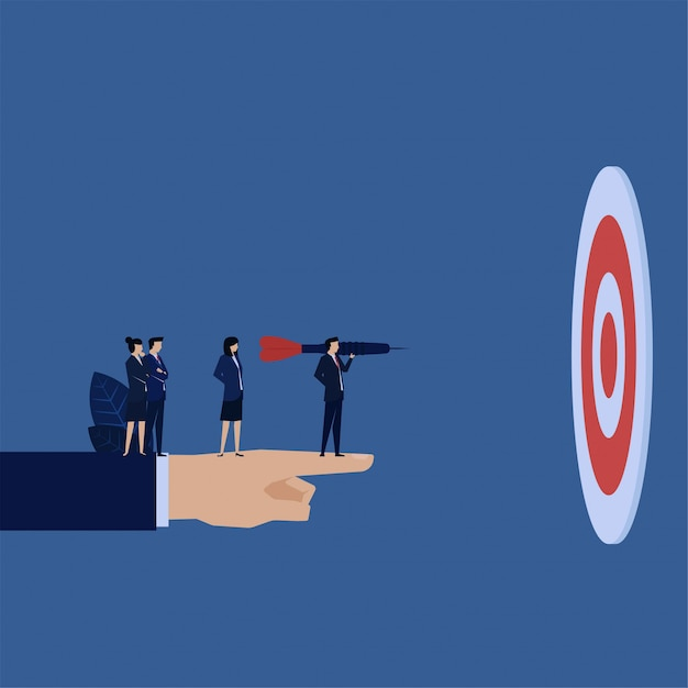 Business manager hold dart front of target metaphor of easy target. Premium Vector