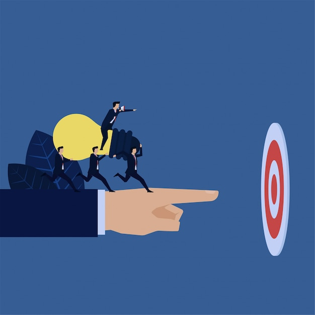 Business manager instruct to bring idea to target metaphor of teamwork. Premium Vector