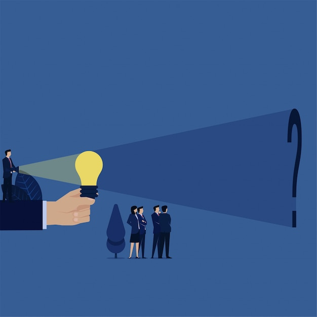 Business manager light up idea bulb and find question mark behind metaphor of seek the truth. Premium Vector