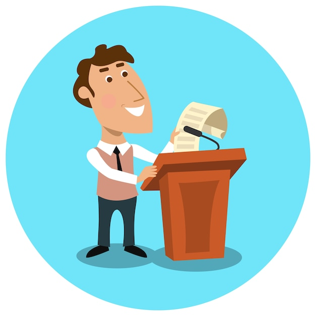 Business manager making public presentation Free Vector