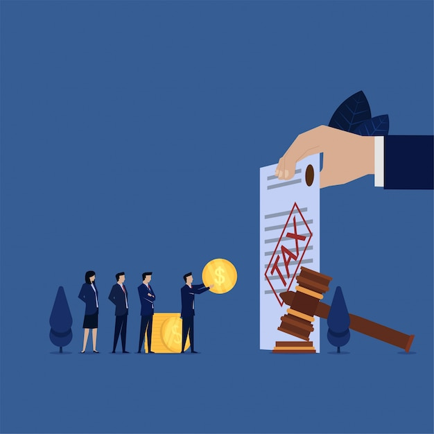 Business manager pay tax penalties obey law. Premium Vector